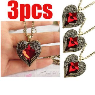 3pcs Wholesale Retro Red Heart Necklace Pendant Carved Angel Wing New