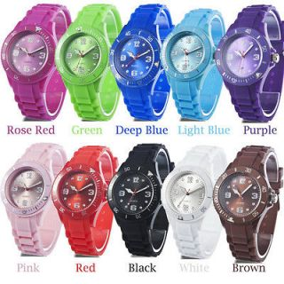 Unisex Classic Stylish Silicon Jelly Strap Wrist Watch for Women Lady