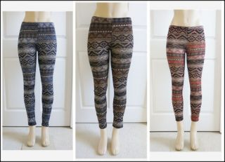 NWT 28 Inseam Tribal African Culture Native Print Leggings Blue/Brown