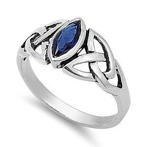 Sterling Silver Blue Sapphire CZ Ring Irish Celtic Knot Design Band