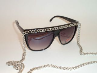 SNOOKI Celebrity Wayfarer Style Flat Top Fat 12 Chain Sunglasses Pop