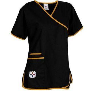 Pittsburgh Steelers Ladies NFL Mock Wrap Scrub Top   Black