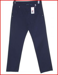 Bnwt Authentic Mens Fila Trousers Pants W32 L32 Navy Blue