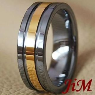 Tungsten Mens Wedding Bands Rings 14K Gold Bridal Jewelry Size 6 15