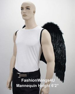 BLACK Broad wingspan Costume Feather Angel Wings Archangel Goth Demon