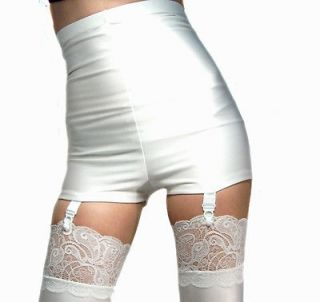 HIGH WAISTED WHITE SPANDEX SHORTS HOT PANTS SUSPENDERS XS S M L XL XXL