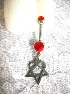 VILLE VALLO HIM HEARTAGRAM LOVE METAL PEWTER CHARM DBL RED CZ BELLY