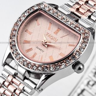M2C YAQIN Charm Crystal Rose Gold Dial Lady Bracelet Dress Quartz