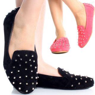 Womens Spike Shoes New Fashion Punk Style Stud Flat Oxfords Black