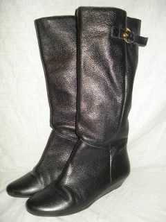 New Steven by Steve Madden INTYCE Black Leather Riding Wedge Boot Sz