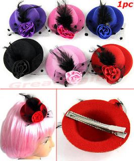 Ladys Mini Feather Rose Top Hat Cap Lace fascinator Hair Clip Costume