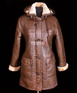 Ladies Brown New Smart Winter Warm Real Shearling Sheepskin Leather