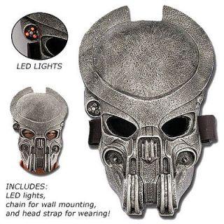 Deluxe Alien Predator Style Mask w/ Red LED Lights & More