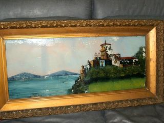 Antique Original Gilt wood Framed Reverse Painting on Glass Hiedreberg