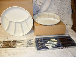 Vintage White Pottery Divided Fondue Sushi Plates PLUS 8 FORKS