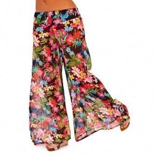 Womens Boho Floral Sheer Palazzo Beach Trousers/Cover Up Sizes 8 10 12