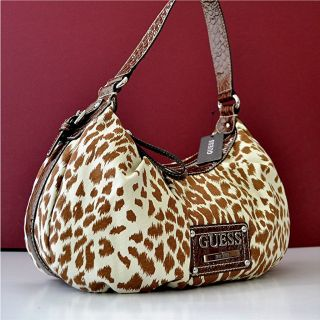 Guess Brown Zoo Animal Print Shoulder Handbag Bag Purse