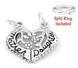 SILVER MOTHER DAUGHTER HEART SPLIT CHARM W/ SPLIT RING
