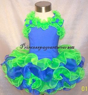 Royal Blue and Neon Green National Pageant Dress Shell