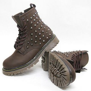 Mens Brown Black Studded Spike Zip Combat Boots US6~11 Mans Military