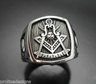 Past Master Masonic #008O Sterling Silver Ring Oxidized Blue Lodge