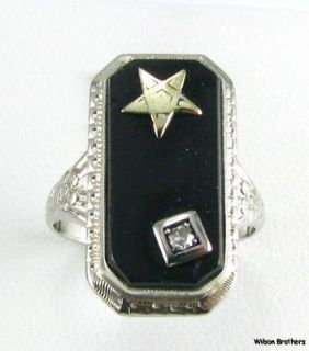 of the Eastern Star   14k White Gold Floral Onyx Masonic OES Ring 585