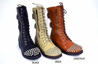 NEW Womens Fashion Studded Spike Combat Boot Zipper And Lace Up