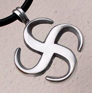 Swastika Sign Buddha Buddhism Pewter Pendant w Choker