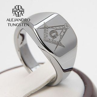 Newly listed Tungsten Carbide Silver Magnificen Freemason Masonic Ring