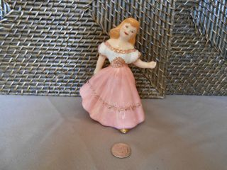 lady southern belle white pink dress gold trim ceramic girl figurine