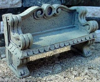 Concrete Garden Bench Miniature 1/24 Scale G Scale Diorama Accessory