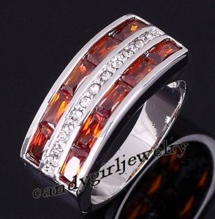 Jewelry Mens Red Garnet 10KT White Gold Filled Ring Size 10 Gift