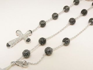 Newly listed Mens Silver Black Diamond Skull Rosary Style Necklace by