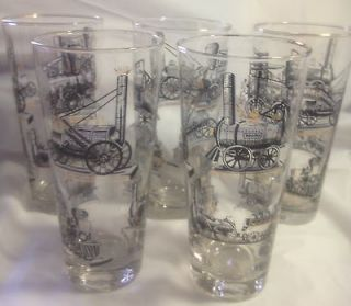 LOT OF 5 VINTAGE TRAIN GLASSES LIBBEY 6 1/2 BEER TUMBLER GOLD LEAF