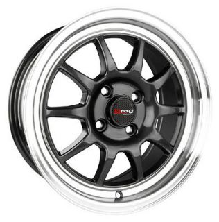 15 x7 4x100 DRAG 4 LUG DR16 GUN METAL WHEELS RIMS W/CAP