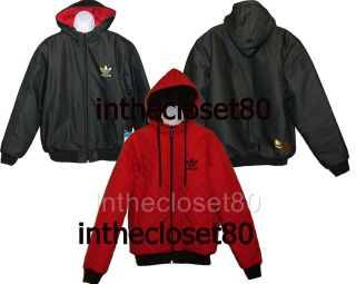 ADIDAS HEAVY DENIM MENS REVERISBLE QUILTED HOODY JACKET BLACK/RED/GOLD