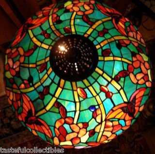 Tiffany Style Stained Glass Lamp Shade Butterfly Floral 18 Wide  New