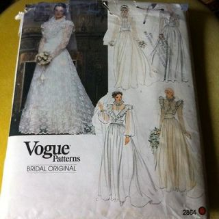 Vtg Vogue victorian steampunk Wedding Dress With Train & Slip. Sz 16