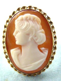 VINTAGE 70S 10K YELLOW GOLD HAND CARVED CONCH SHELL CAMEO RING SZ 5.5