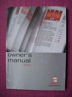 SEAT IBIZA OWNERS MANUAL   OWNERS GUIDE   HANDBOOK INCLUDING 130 TDi