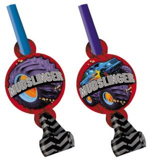 Mudslinger Monster Truck Kids Birthday Boy Party x8 Blowouts Trumpet