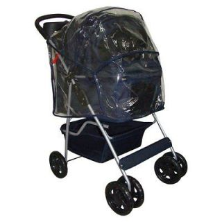 Navy Blue Classic 4 Wheels Pet Dog Cat Stroller Carrier w/RainCover