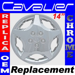Cavalier Snap On CHROME 14 Hub Cap 5 Spoke OEM Steel Wheel Skin Cover