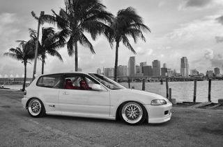 Honda Civic EK Hatch WORK Wheels HD Poster Sports Car Print multi
