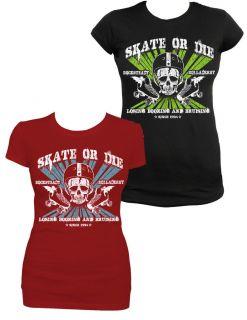 Rock Steady Skate or Die Roller Derby Rockabilly Punk Rock TShirt Tee