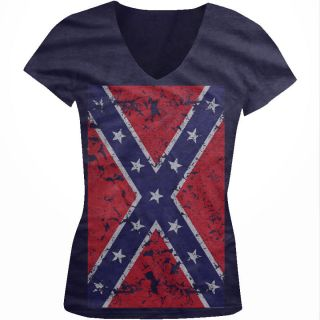 Confederate Flag Oversize Juniors Girls V Neck Shirt Redneck Southern
