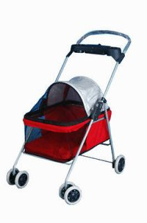New BestPet Cute Red Posh Pet Stroller Dogs Cats w/Cup Holder