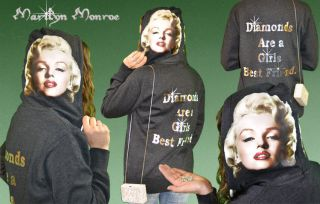 Marilyn Monroe Clothing   Vibrant Swarovski Diamonds Hoodie Sweatshirt