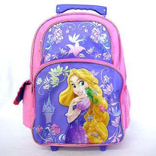 Disney Princess Rapunzel 16 Girls Rolling Wheels Pink Purple Backpack