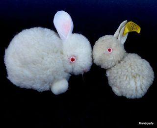 STEIFF Woolen Rabbit x 2 White Bunny 6 cm ID Button Tag 8 cm no ID Vtg